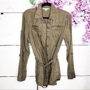 CAbi | Linen Belted Utility Jacket Olive